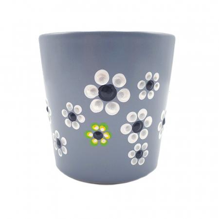 MABEL | Cana gri pentru cafea/ ceai, pictata manual cu flori3