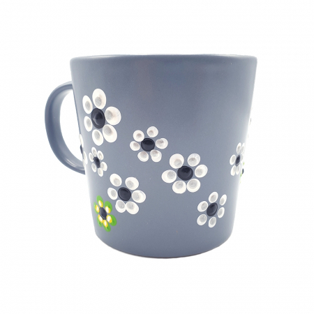 MABEL | Cana gri pentru cafea/ ceai, pictata manual cu flori1