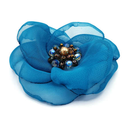 CIELO | Brosa handmade floare turcoaz3