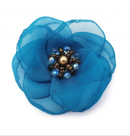 CIELO | Brosa handmade floare turcoaz1