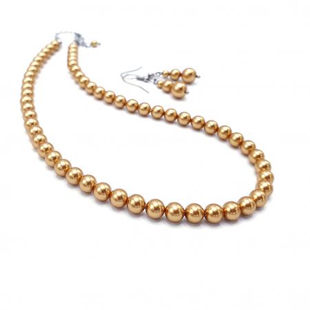 GOLDEN QUEEN | Set colier si cercei, perle Swarovski, auriu0