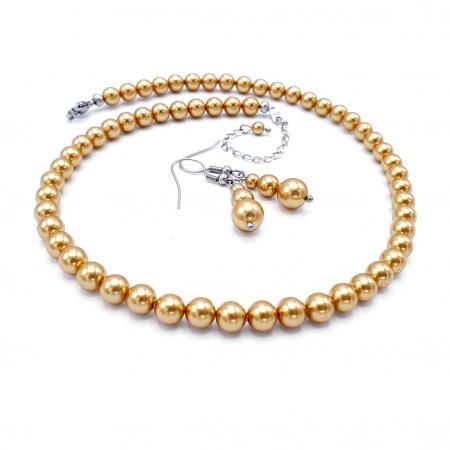 GOLDEN QUEEN | Set colier si cercei, perle Swarovski, auriu1