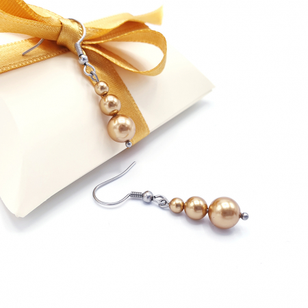 GOLDEN QUEEN | Set colier si cercei, perle Swarovski, auriu2
