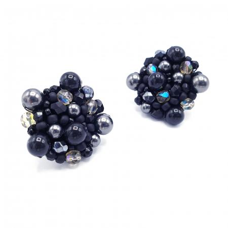 Black Drops | Cercei negri rotunzi eleganti statement0