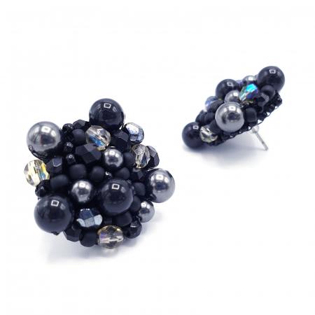 Black Drops | Cercei negri rotunzi eleganti statement1