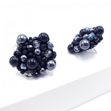 Black Drops | Cercei negri rotunzi eleganti statement3