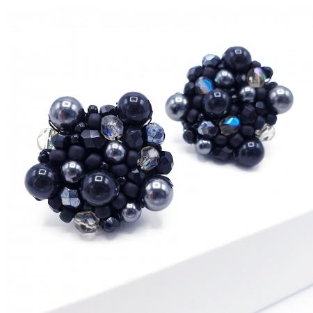Black Drops | Cercei negri rotunzi eleganti statement2