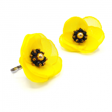 SMILE | Cercei galbeni cu design floral2