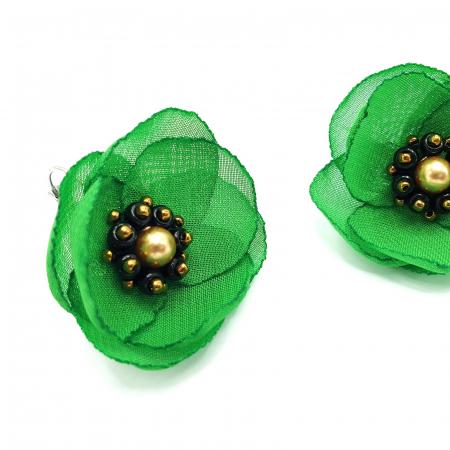MAYRA | Cercei eleganti verzi cu design floral1