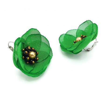 MAYRA | Cercei eleganti verzi cu design floral2