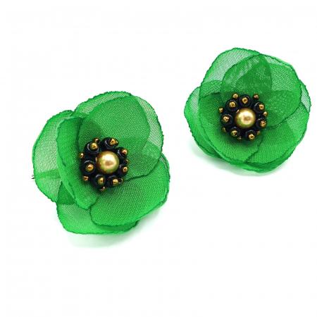 MAYRA | Cercei eleganti verzi cu design floral3