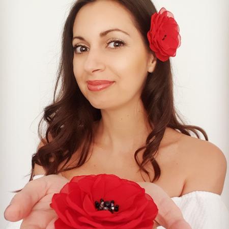 SPANISH LOVE | Agrafa par floare rosie3