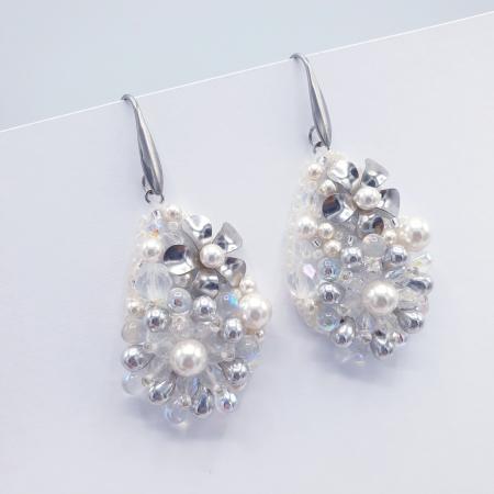 Pure White | Cercei eleganti lacrima albi cu perle si cristale0