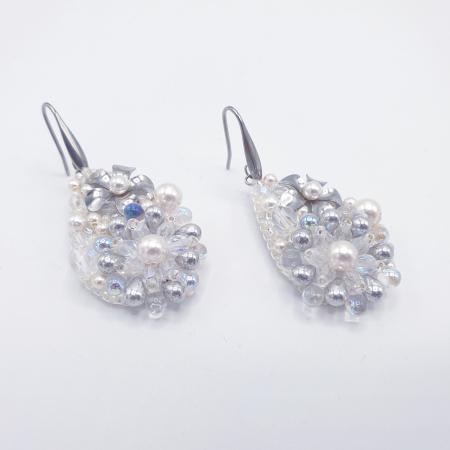 Pure White | Cercei eleganti lacrima albi cu perle si cristale2