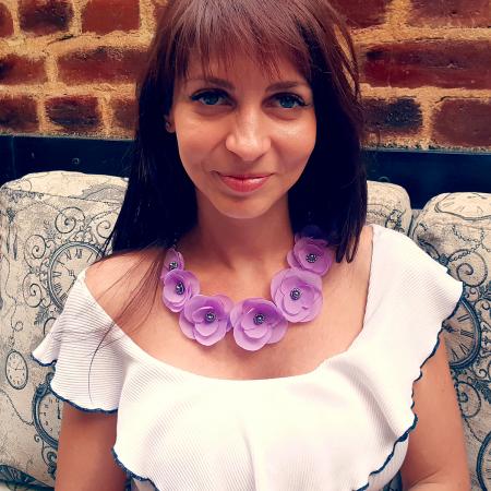 CUTE LILLY | Colier statement cu flori lila2