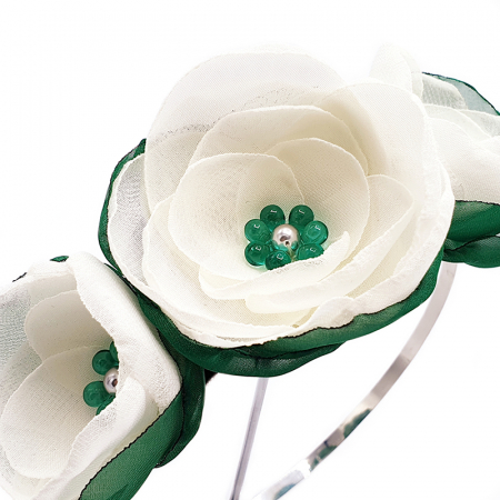 WHITE FAIRY | Cordeluta par cu flori albe, din voal1