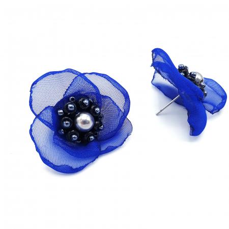 JESSIE | Cercei eleganti floare albastra, perle Swarovski1