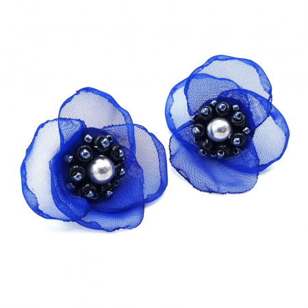 JESSIE | Cercei eleganti floare albastra, perle Swarovski0