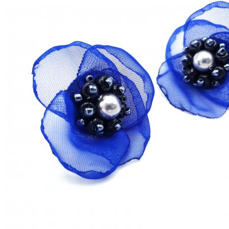 JESSIE | Cercei eleganti floare albastra, perle Swarovski2