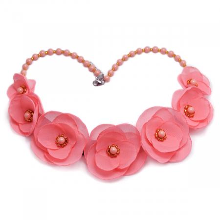 ROSALINA | Colier statement elegant, flori roz0