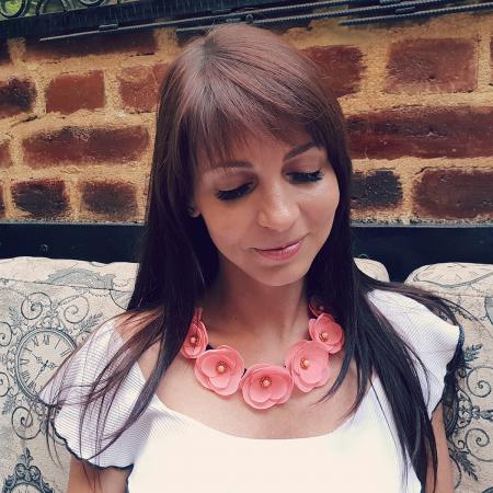 ROSALINA | Colier statement elegant, flori roz4