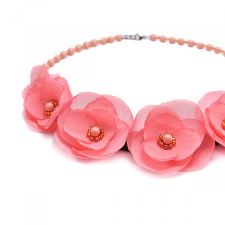 ROSALINA | Colier statement elegant, flori roz1