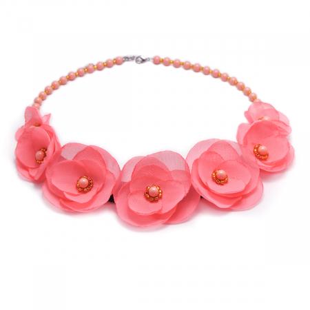 ROSALINA | Colier statement elegant, flori roz3