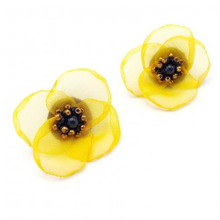 ARIANA | Cercei floare galbena, perle Swarovski0