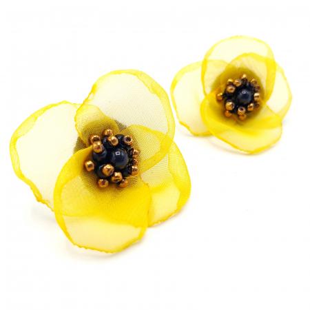 ARIANA | Cercei floare galbena, perle Swarovski2