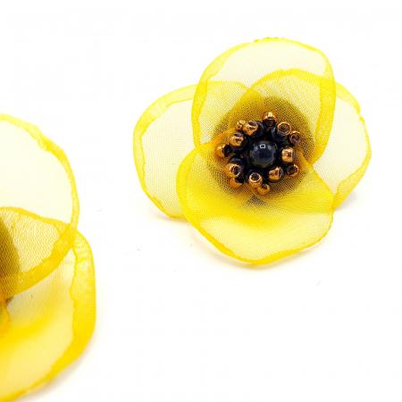 ARIANA | Cercei floare galbena, perle Swarovski1
