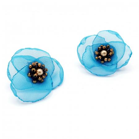 VENUS | Cercei floare turcoaz, perle Swarovski3