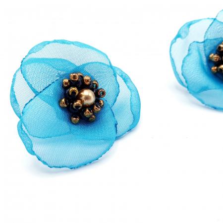 VENUS | Cercei floare turcoaz, perle Swarovski2