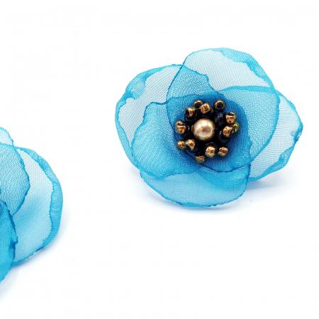 VENUS | Cercei floare turcoaz, perle Swarovski1