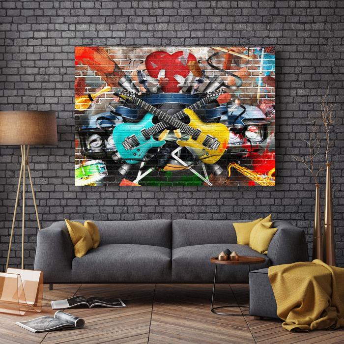 Tablou Canvas - Colourful Guitars [2]