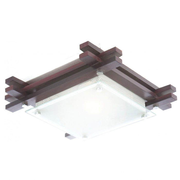 Plafoniera, 1 x E27, wenge cu alb mat [0]