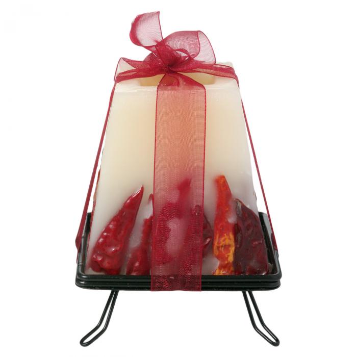Lumânare parfumată pe suport metalic - fundă roșie 0