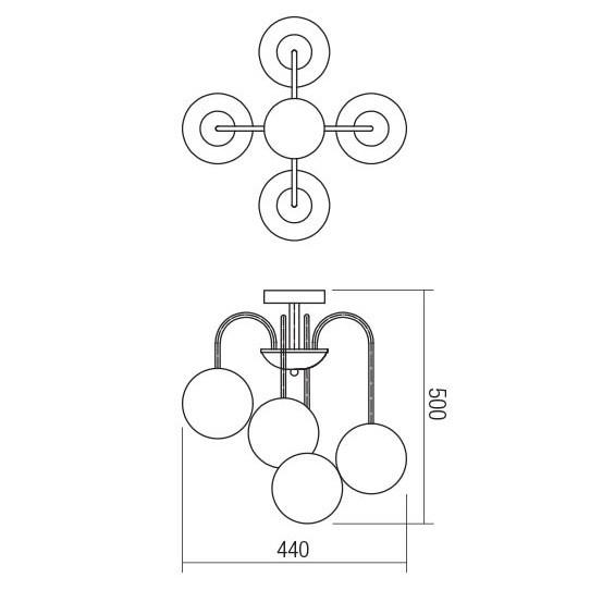 Plafoniera , 4 x E14, finisaj alama antica cu ambra [1]