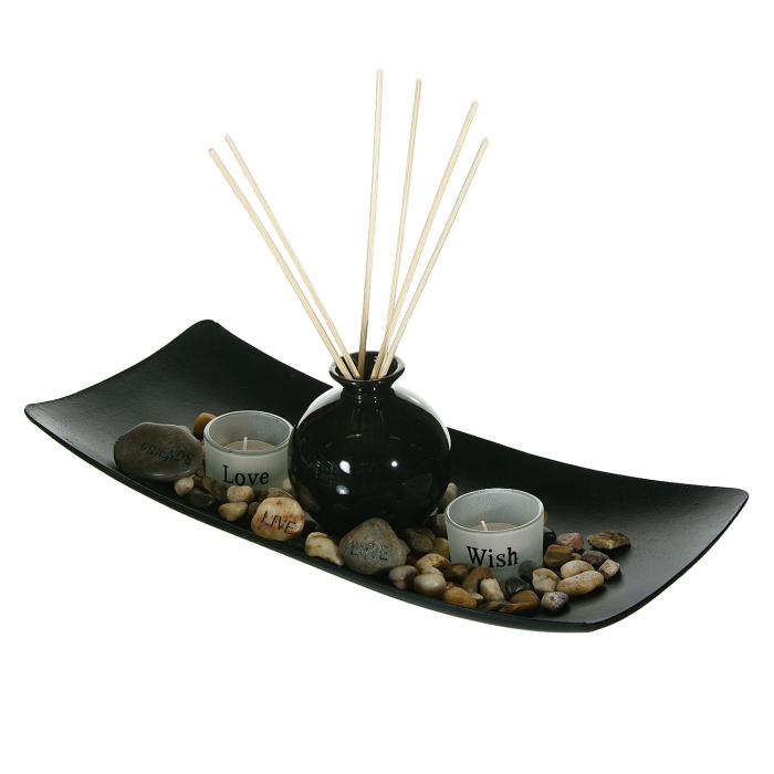 Suport din lemn negru pentru lumânări și parfum [0]