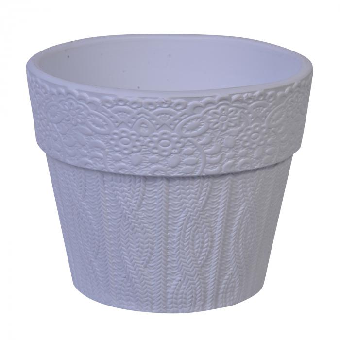 Ghiveci pentru flori din ceramică alb 16x13 cm 0
