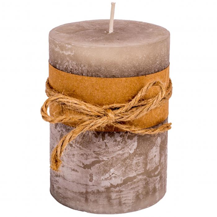 Lumânare cilindrică gri-maro parfumată [0]