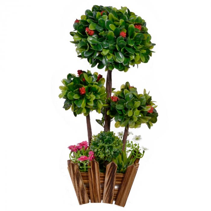Ghiveci maro din lemn cu planta(Bonsai) 0