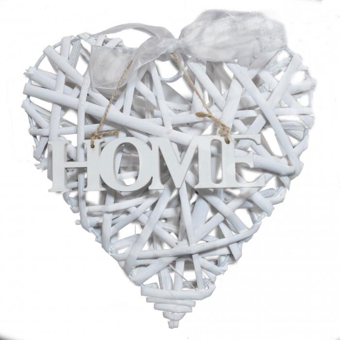 Inimă din lemn albă decorativă 0
