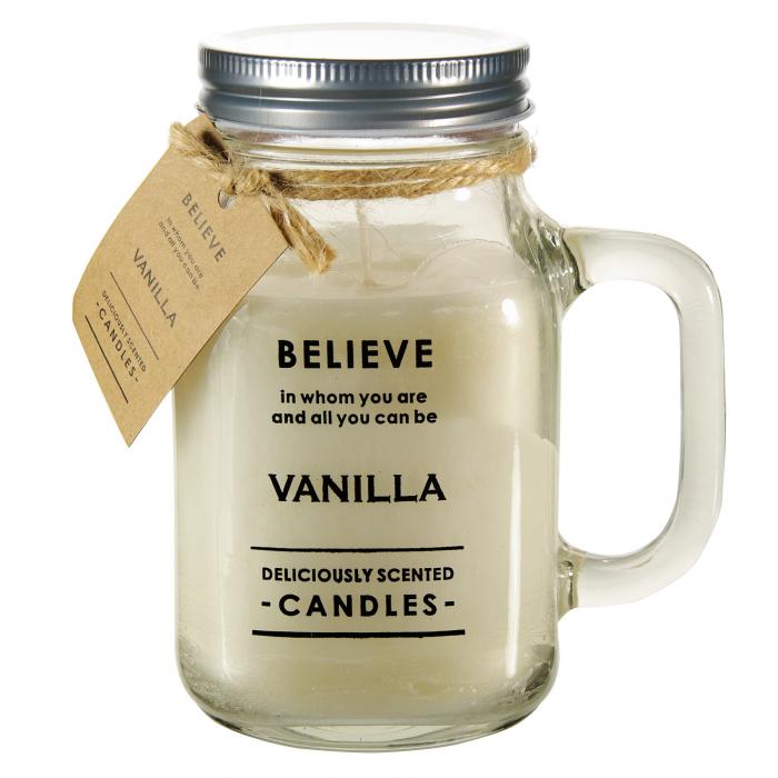 Lumânare în borcan cu capac de vanilie.8x14,5 cm [0]