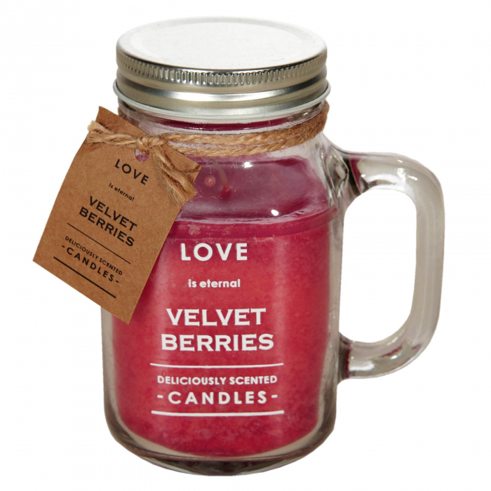 Lumânare cu capac cu aromă de zmeură roșie.8x14,5 cm 0