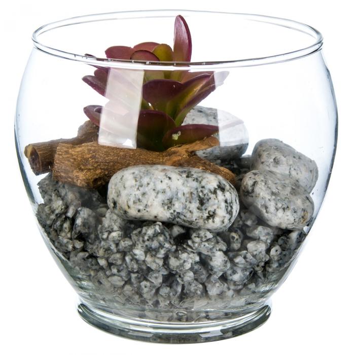 Bol decorativ cu plantă și pietricele 11.5x12 0