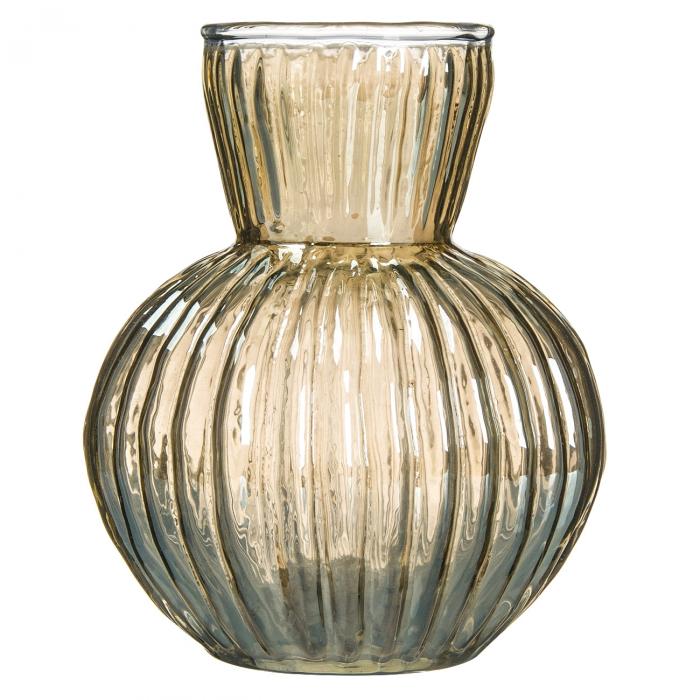 Vază din sticlă transparentă și nuanță aurie. 11cm [0]