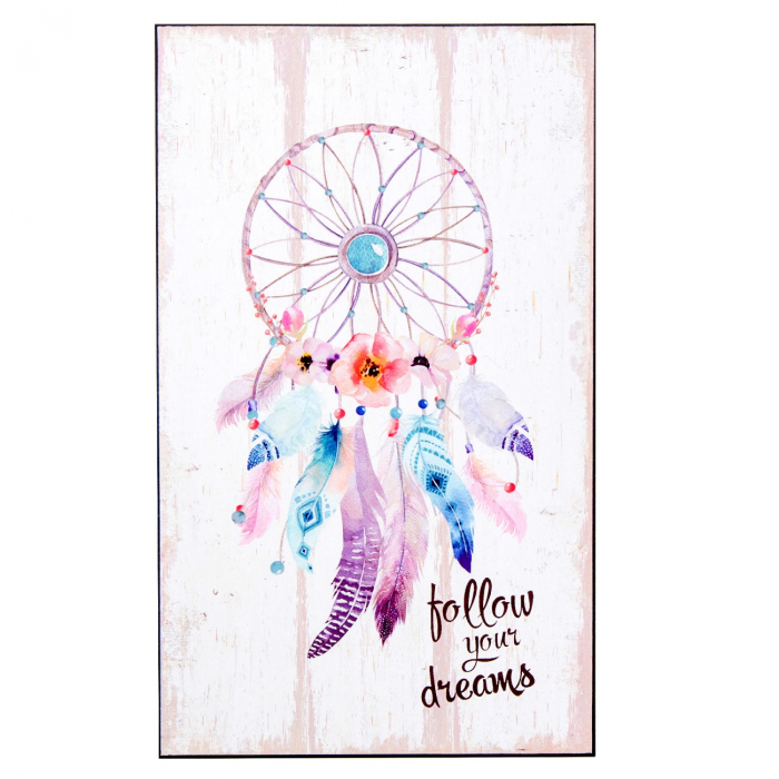 Panou decorativ din lemn Dreamcatcher. 24x40 0