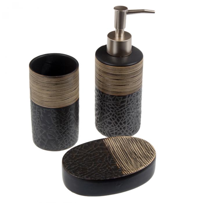 Set baie din ceramică cu mozaic maro - 3 buc. 0