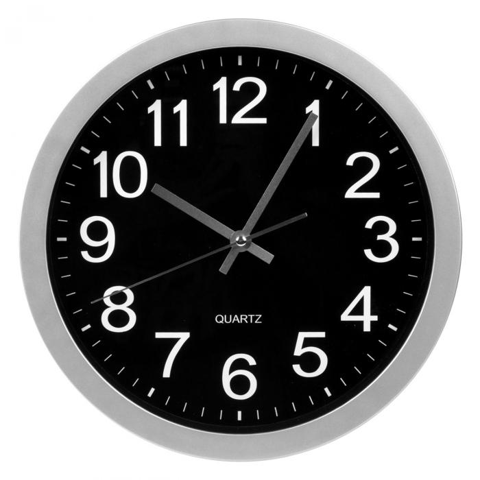 Ceas rotund de perete argintiu cu fundal negru 0