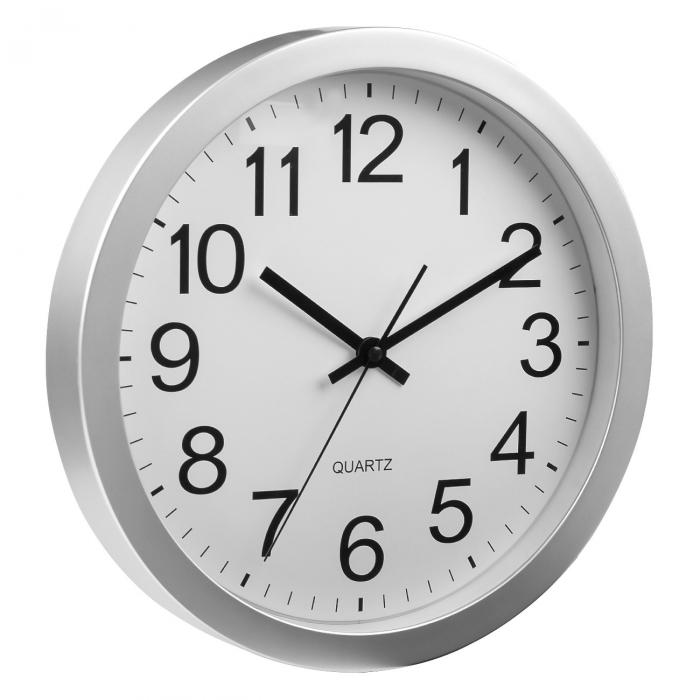 Ceas de perete rotund argintiu cu fundal alb [1]
